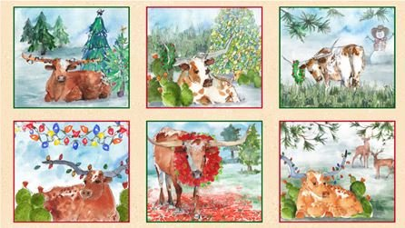Christmas Longhorns - Picture Patches - Tan