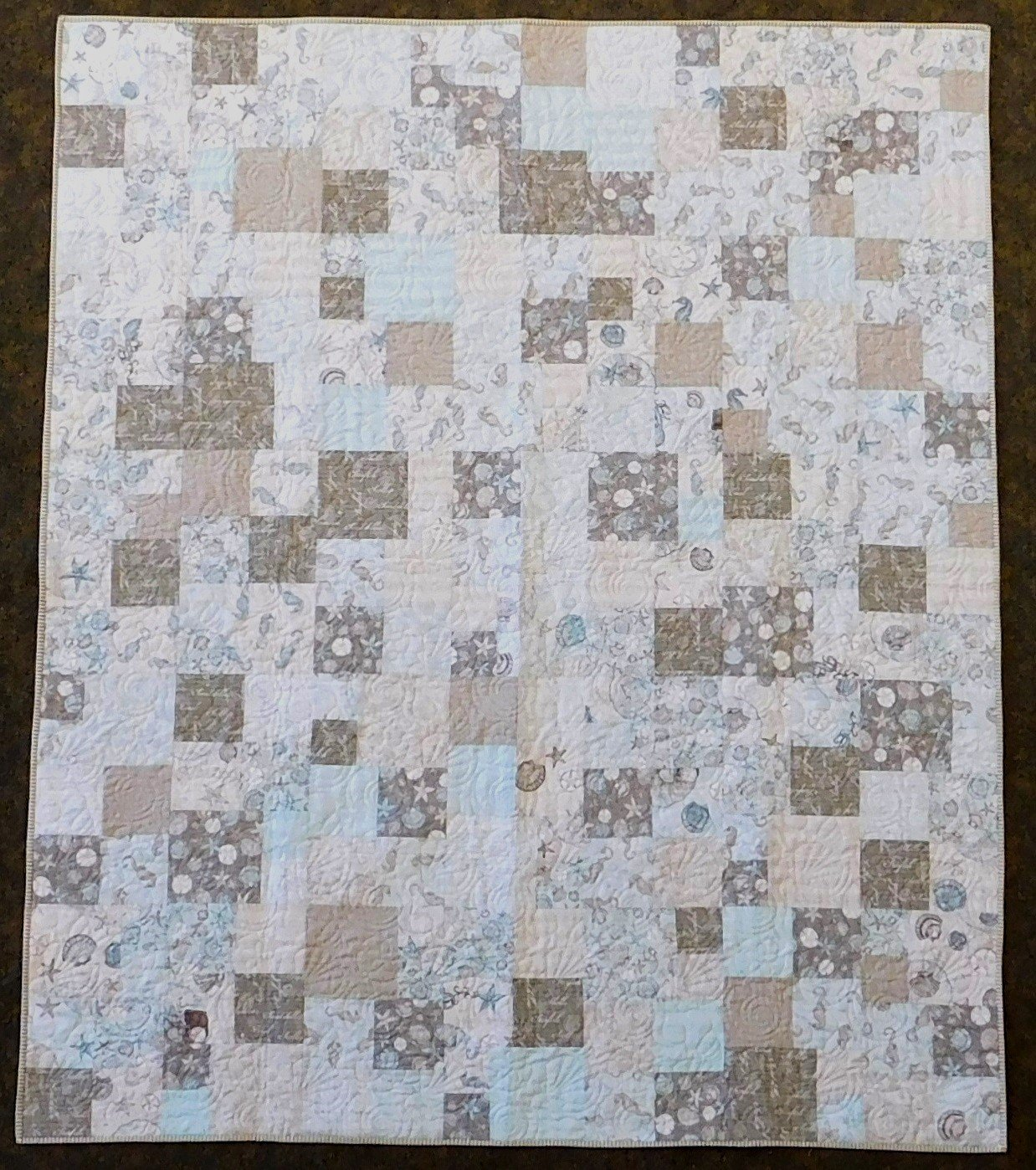 Coastal Wishes Fat Quarter Friday Squares Quilt Kit 63 x 75