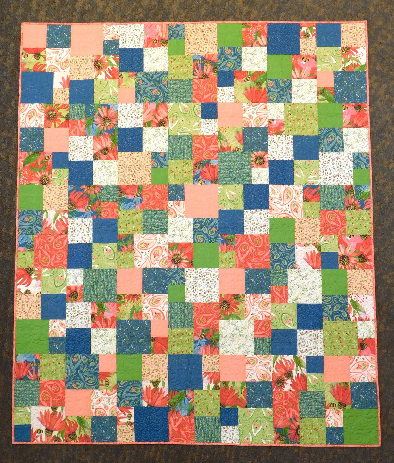 Fat Quarter Friday Squares Finished Quilt 63 x 75
