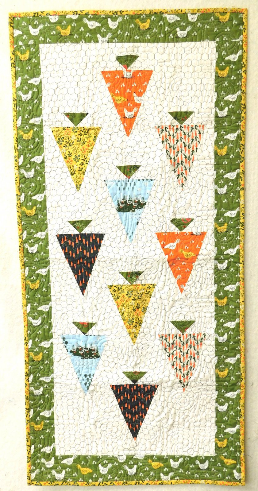 Carrots and Coops Finished Quilt - Table Runner - 23 1/2 x 49