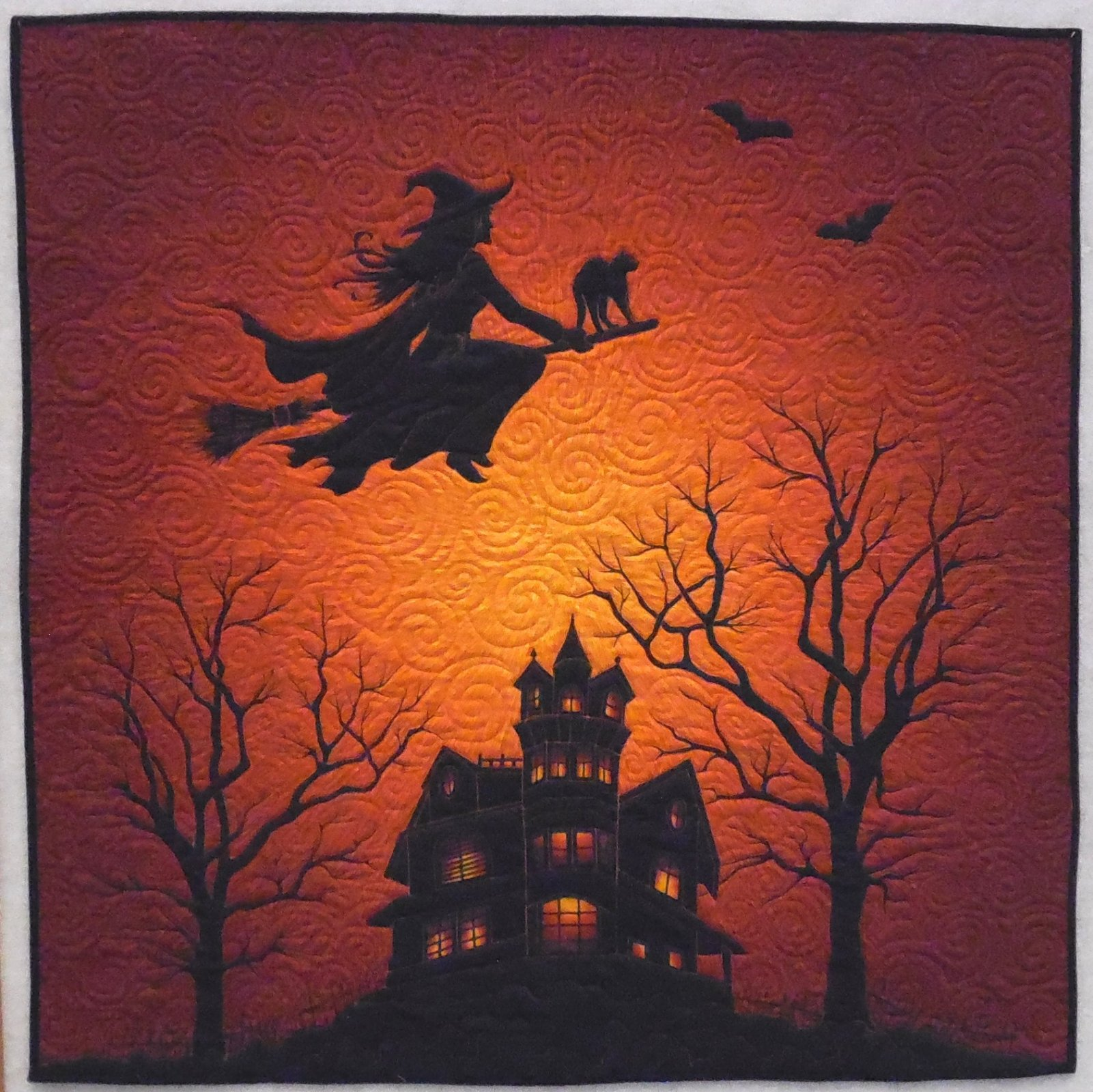 Flying Witch - Finished Halloween Quilt 43 1/2 x 44