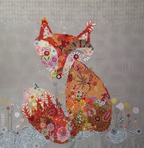 Frieda The Fox - A Collage Pattern by Laura Heine