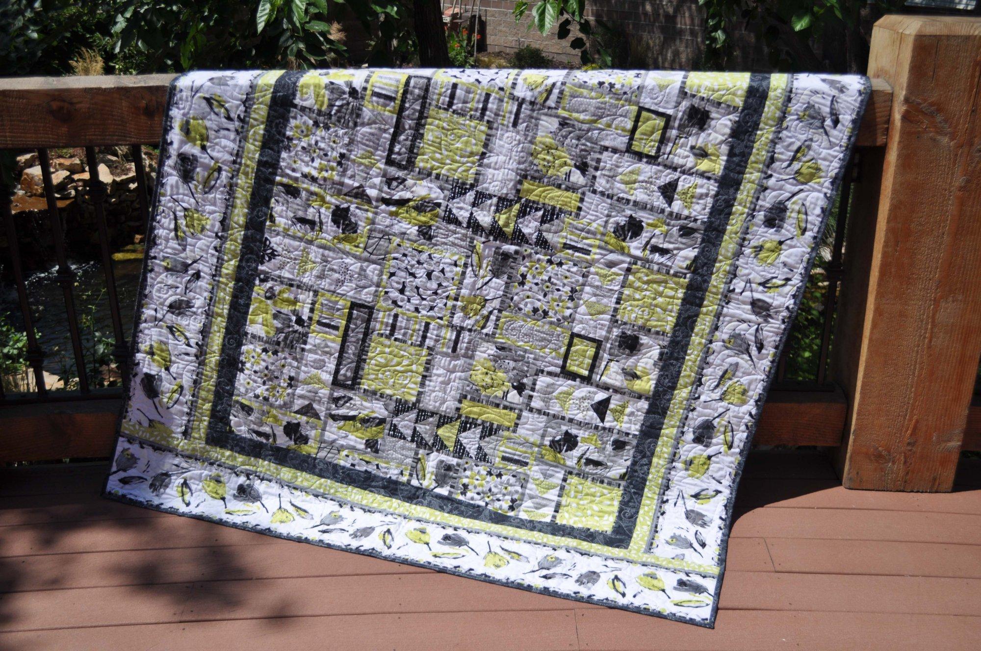 Green & Grey Quilt - 64 x 78