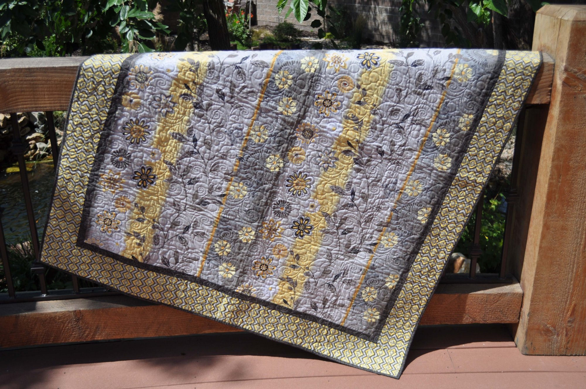 Grey & Yellow Quilt - 53 X 63
