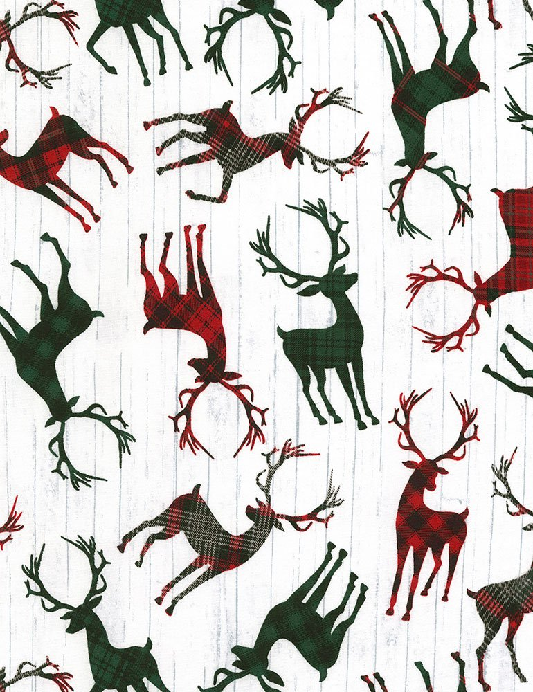 Christmas Cabin - Tossed Deer Silhouettes - White