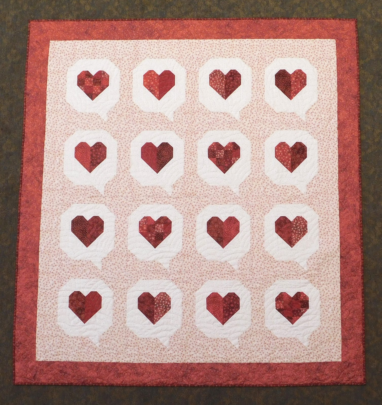 I heart you quilt kit 63 x 69