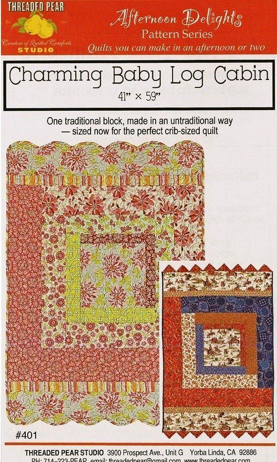 Charming Baby Log Cabin Quilt Pattern - 41 X 59
