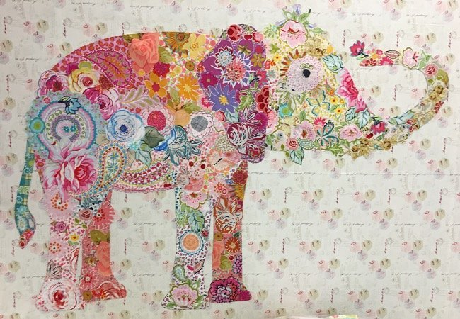 LuLu Elephant Collage Pattern by Laura Heine of Fiberworks - 50 x 42
