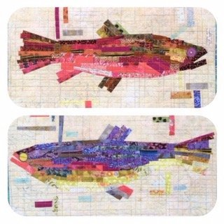 Making Fish - 4 Place Mats Collage Pattern by Laura Heine