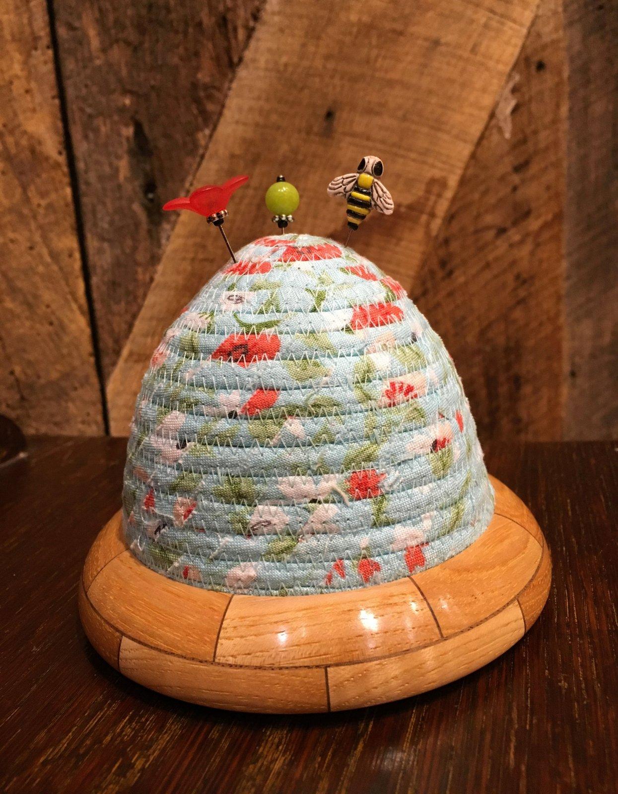 Beehive Pincushion - Hickory / Walnut Base - Blue Top