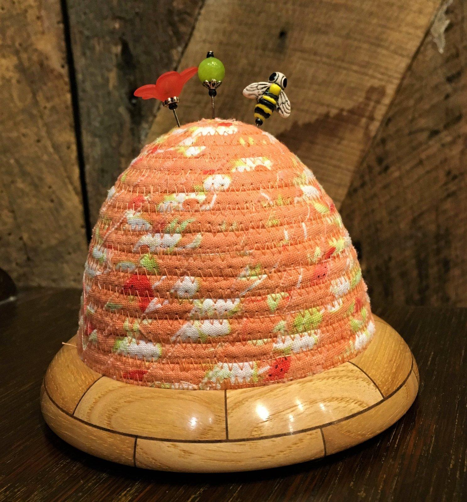Beehive Pincushions - Chantilly Melon Top - Hickory / Walnut Base