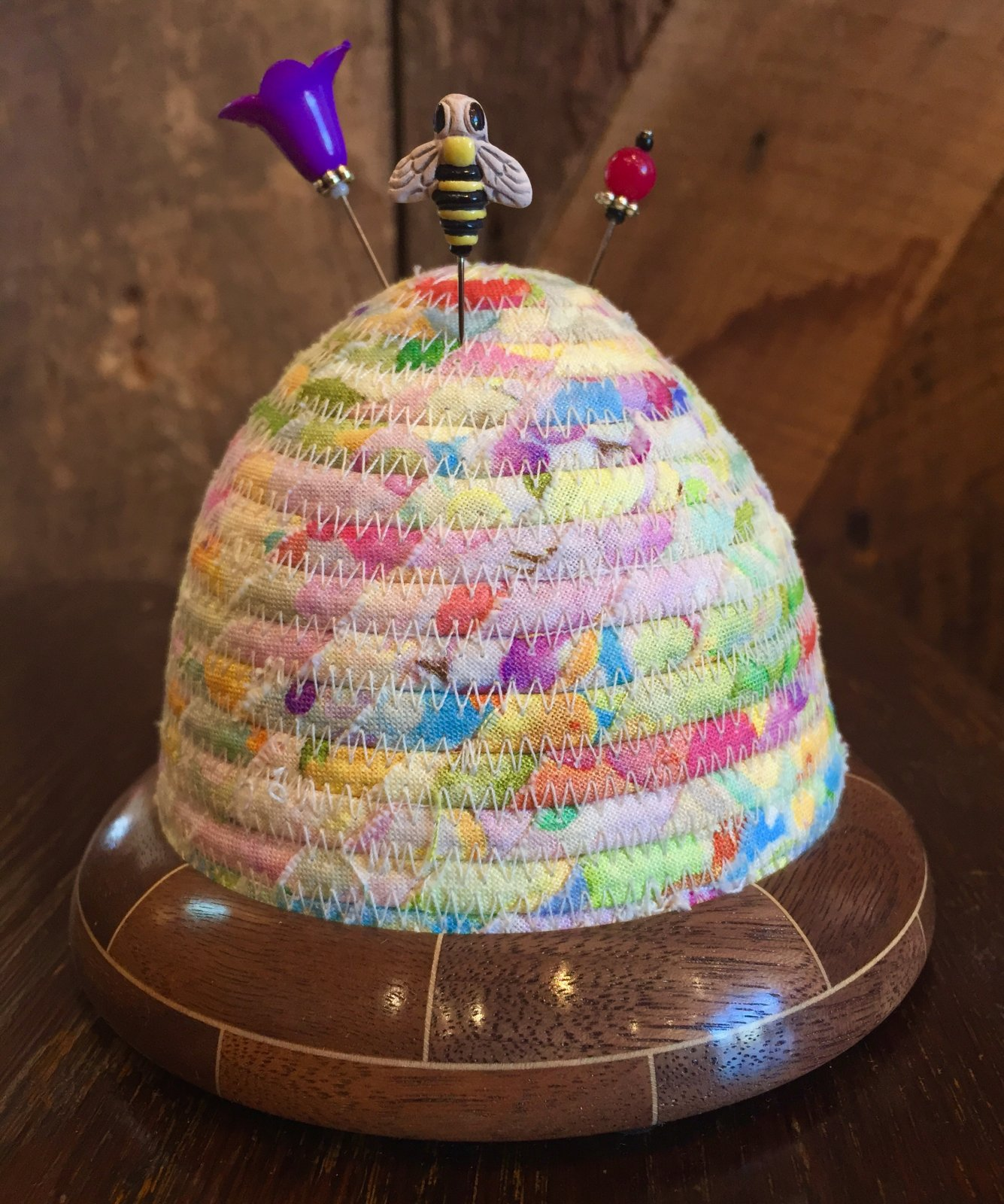 Beehive Pincushion - Multi Color Floral Top - Walnut/Maple Base