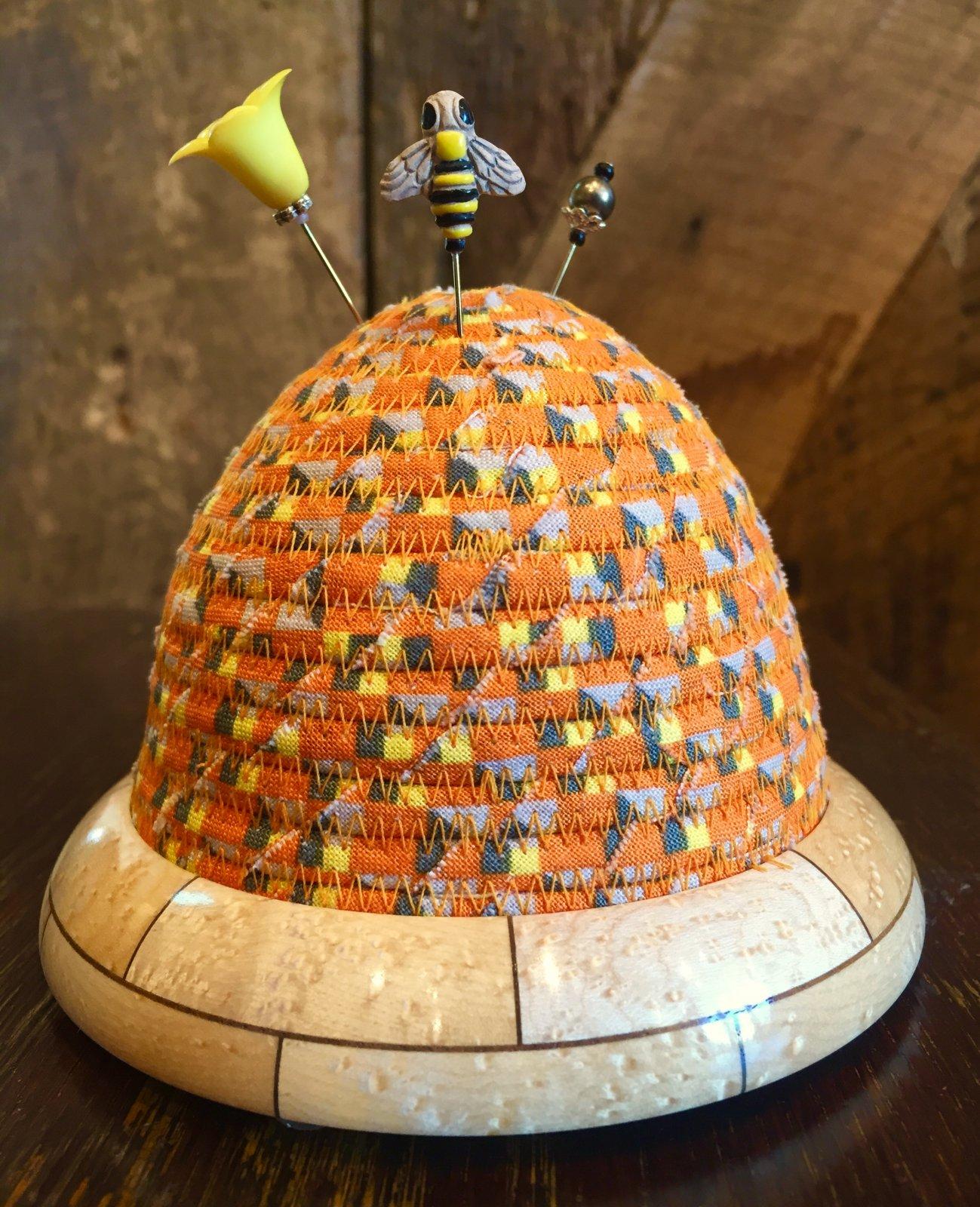 Beehive Pincushion - Orange - Birdseye Maple / Walnut Wooden Base - copy
