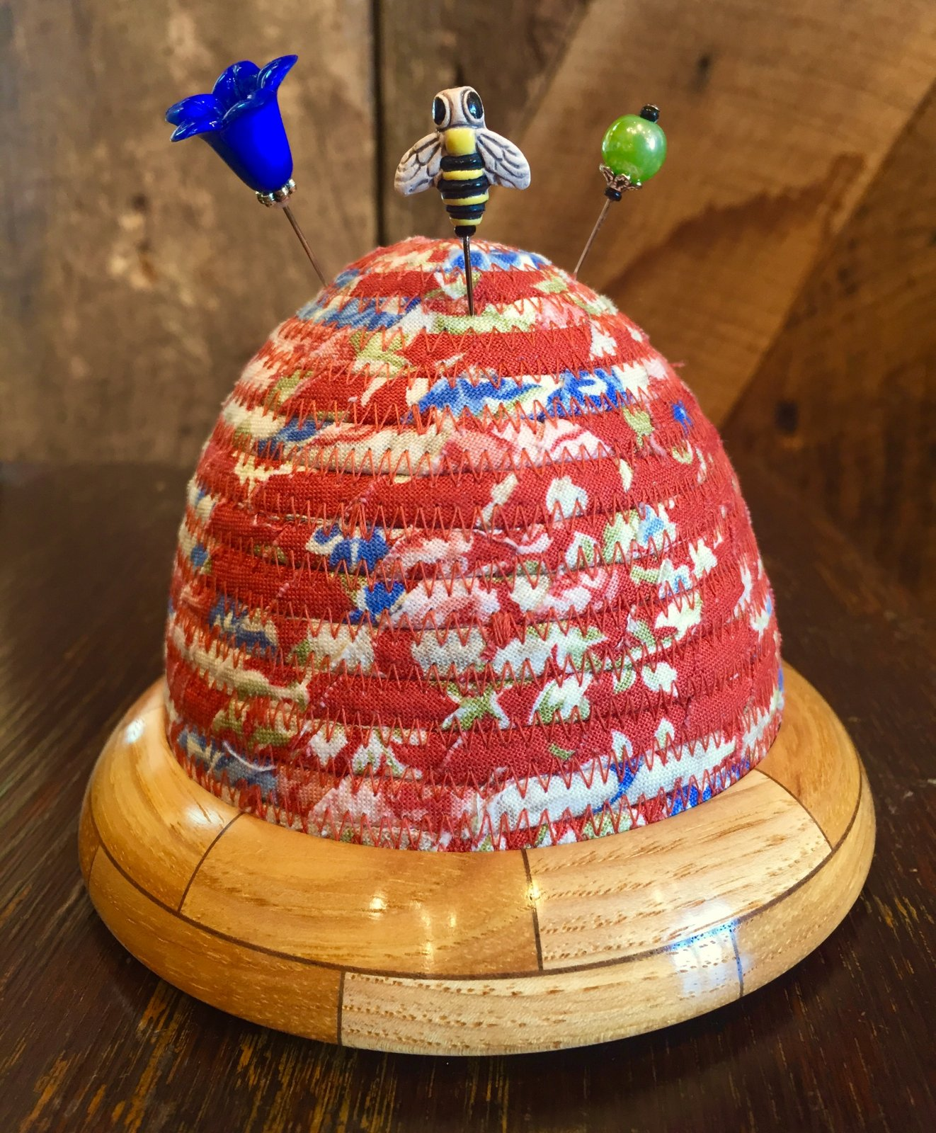 Beehive Pincushion - Red Floral - Hickory / Walnut Wooden Base