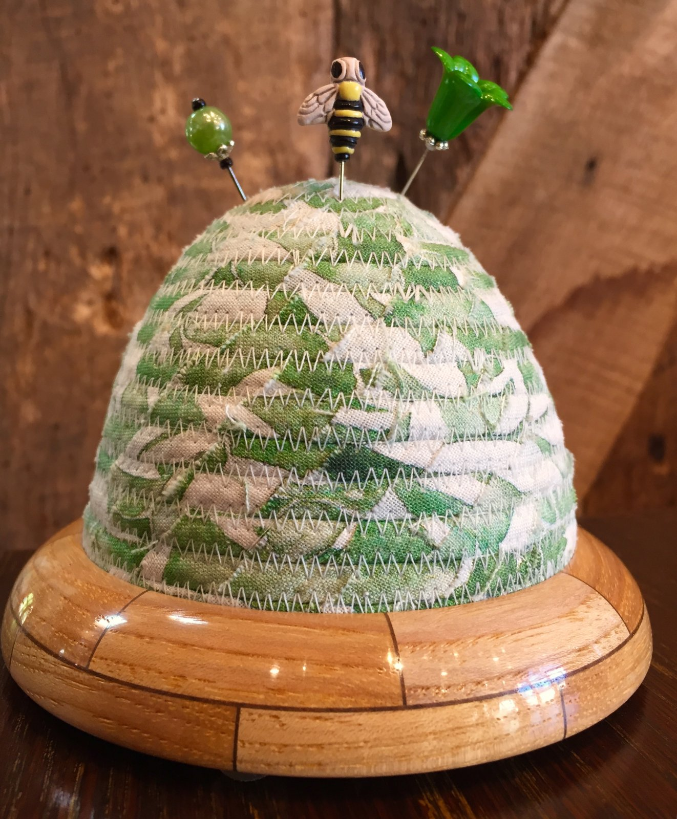 Beehive Pincushion - Brightly Blooming - Green Top - Hickory / Walnut Base