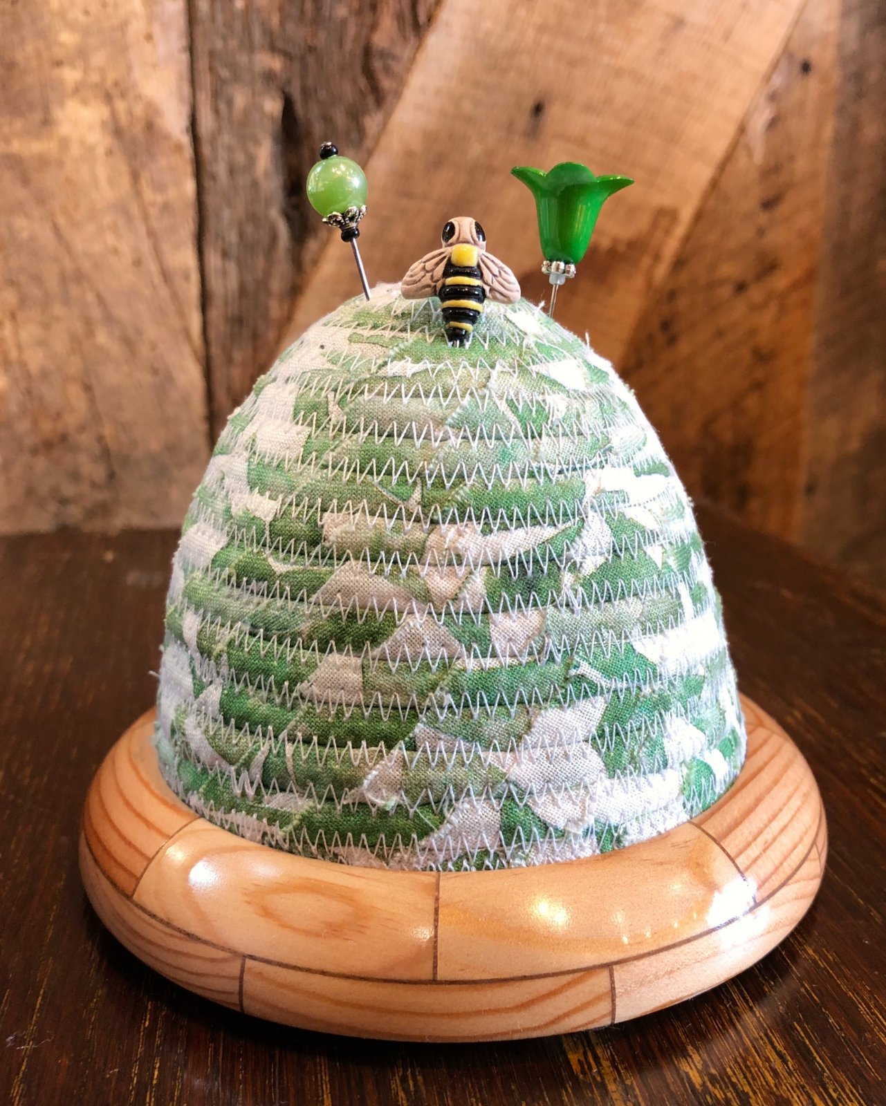 Beehive Pincushion - Brightly Blooming - Green Top - Spruce / Walnut Base
