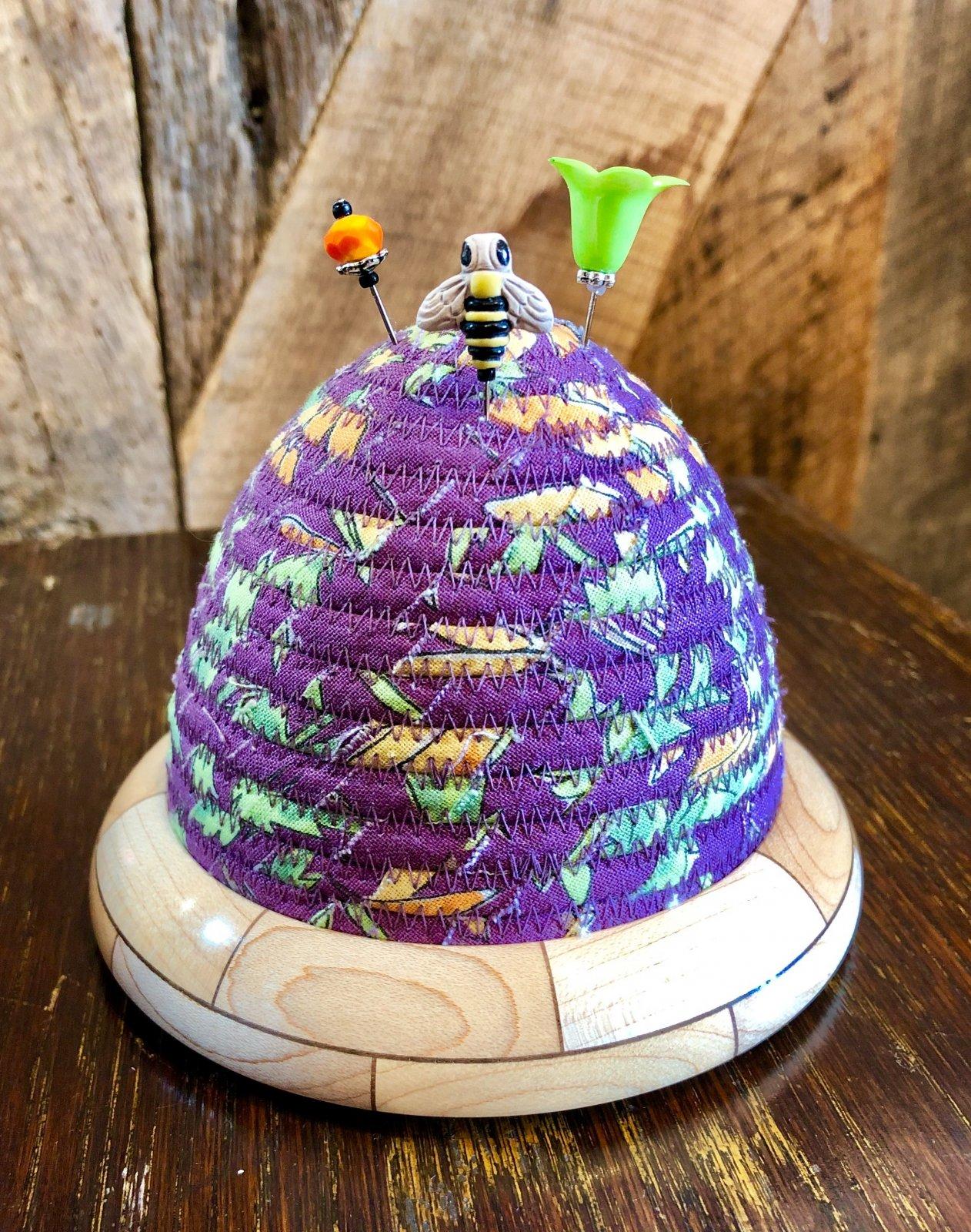 Beehive Pincushion - Laura Heine - Plum Floral Top - Maple / Walnut Base