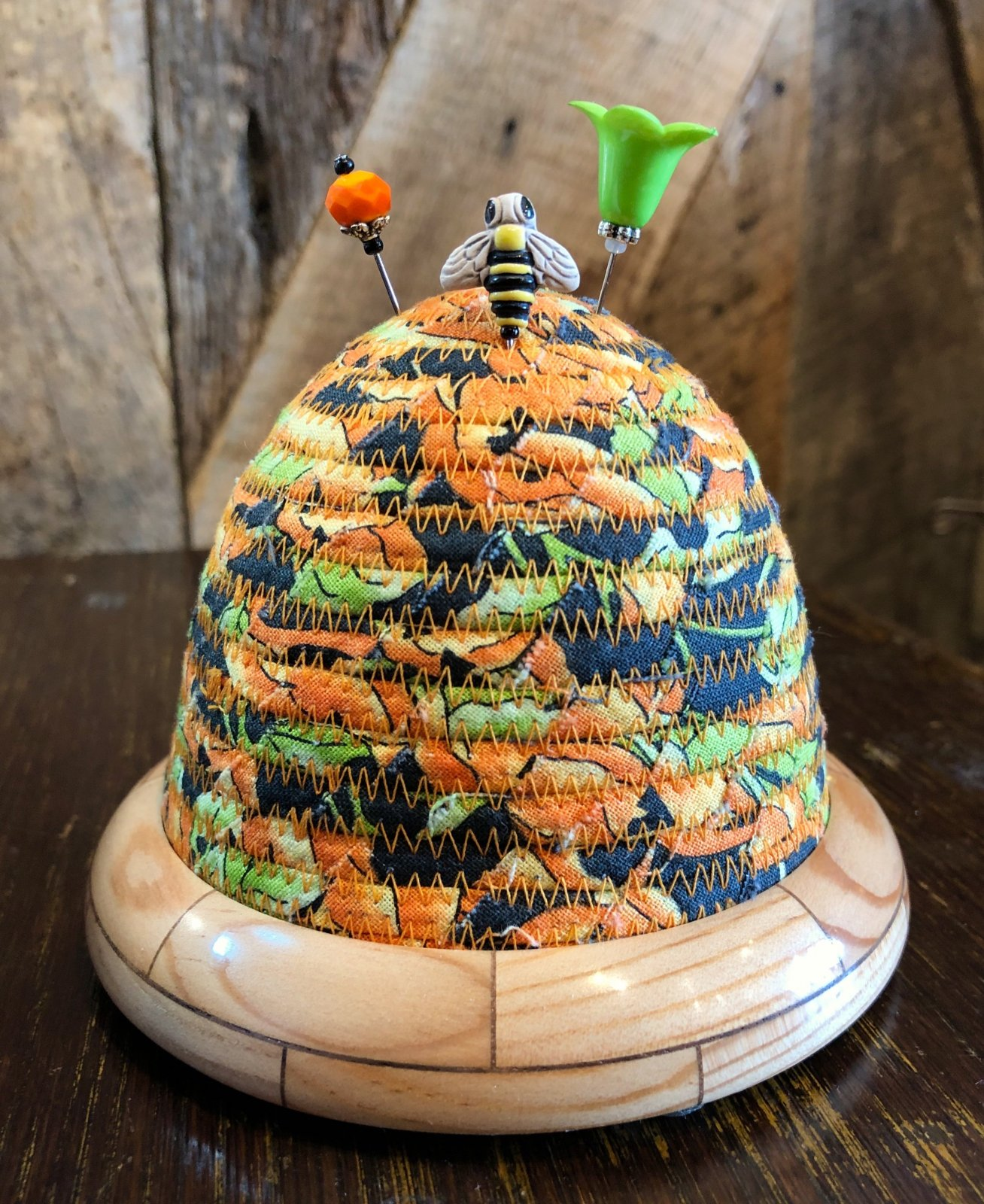 Beehive Pincushion - Orange / Black Top - Spruce / Walnut Base