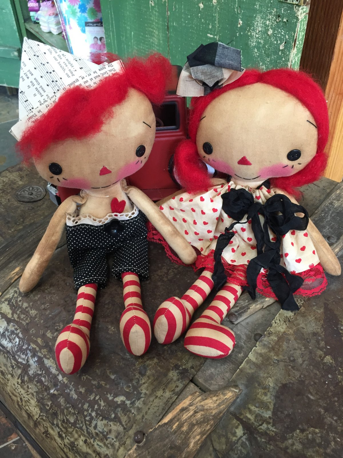 Raggedy Ann with Black Bow & Andy with Sailor Hat Set