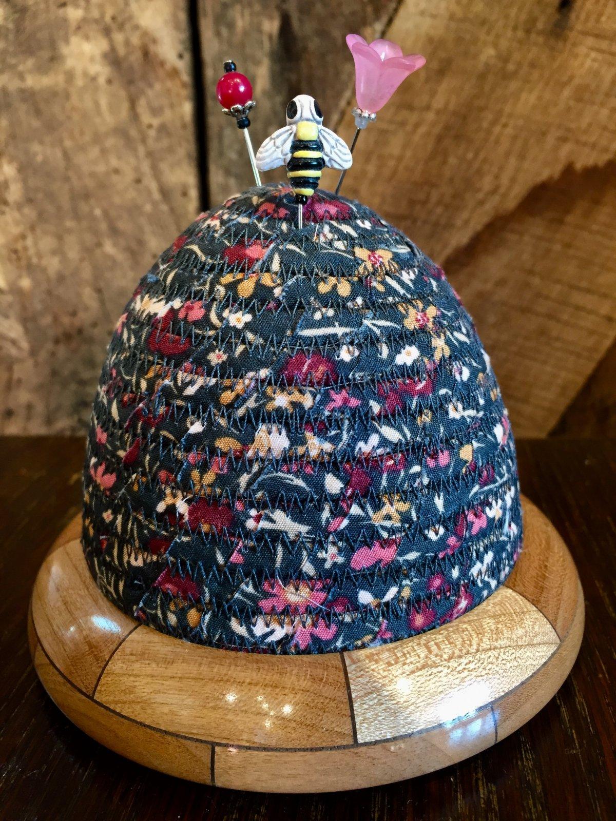 Beehive Pincushion - Kismet Busy Bee - Karma - Cherry/Walnut Base