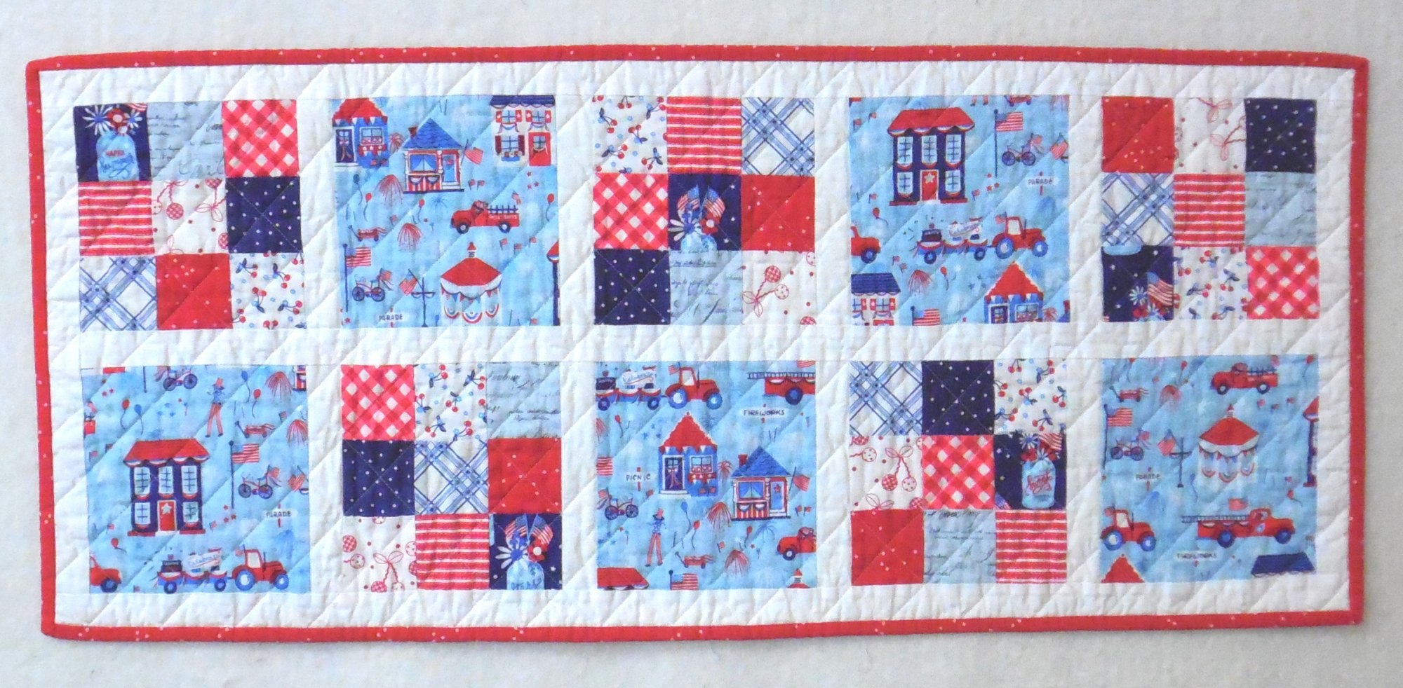 Patriotic Parade Finished Quilt Table runner 15 1/2 x 36 1/2
