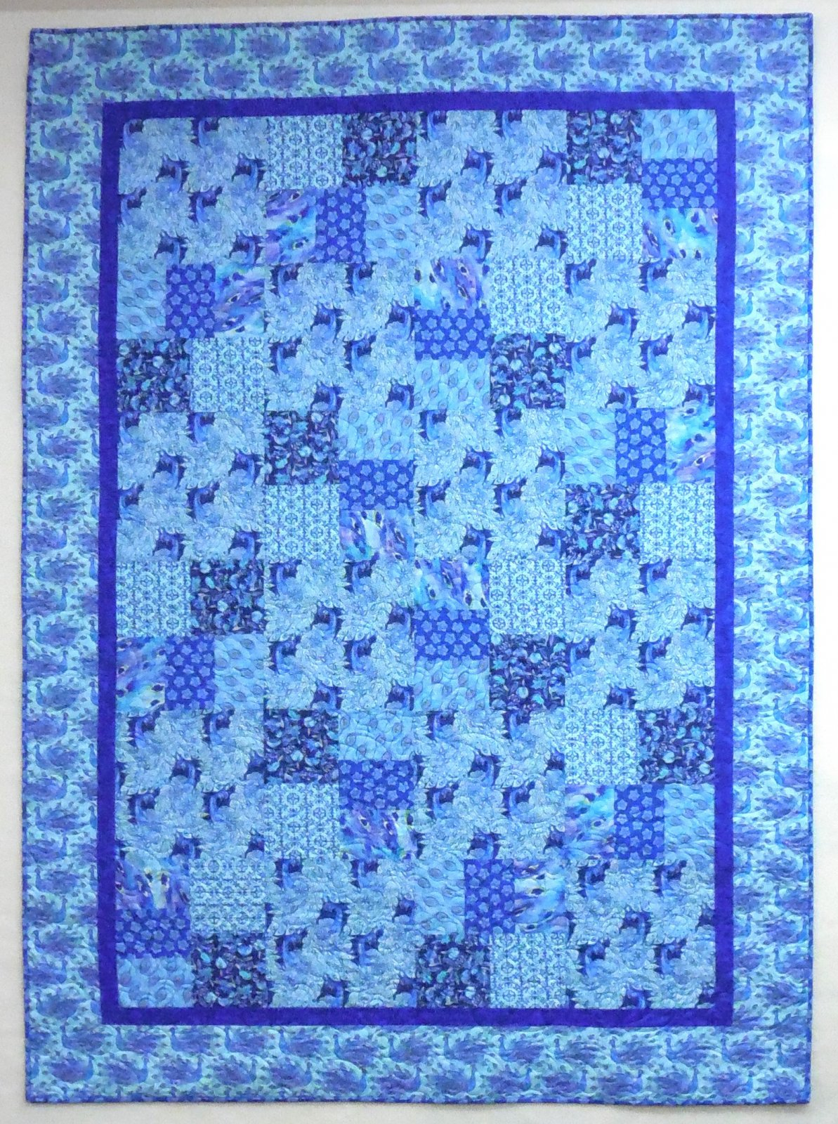 Just Can't Cut It Peacock Quilt Kit - 63 x 87