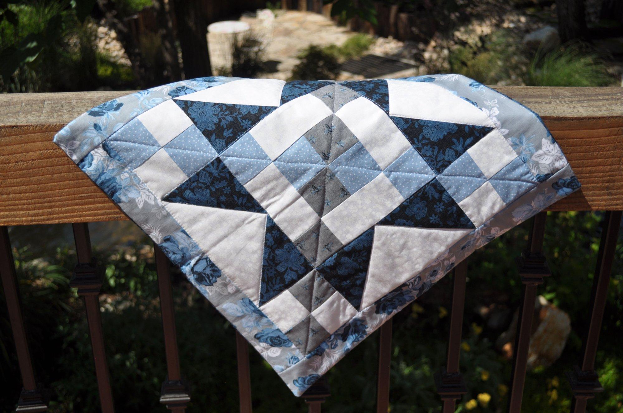 Pillow Sham - Blue & Grey Star - 19 x 19