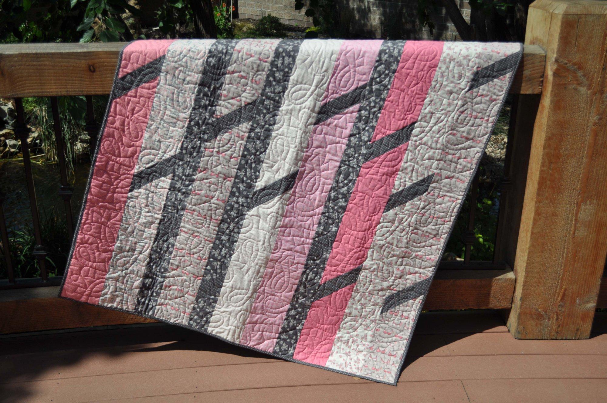 Pink Ribbon Quilt - 49 X 59