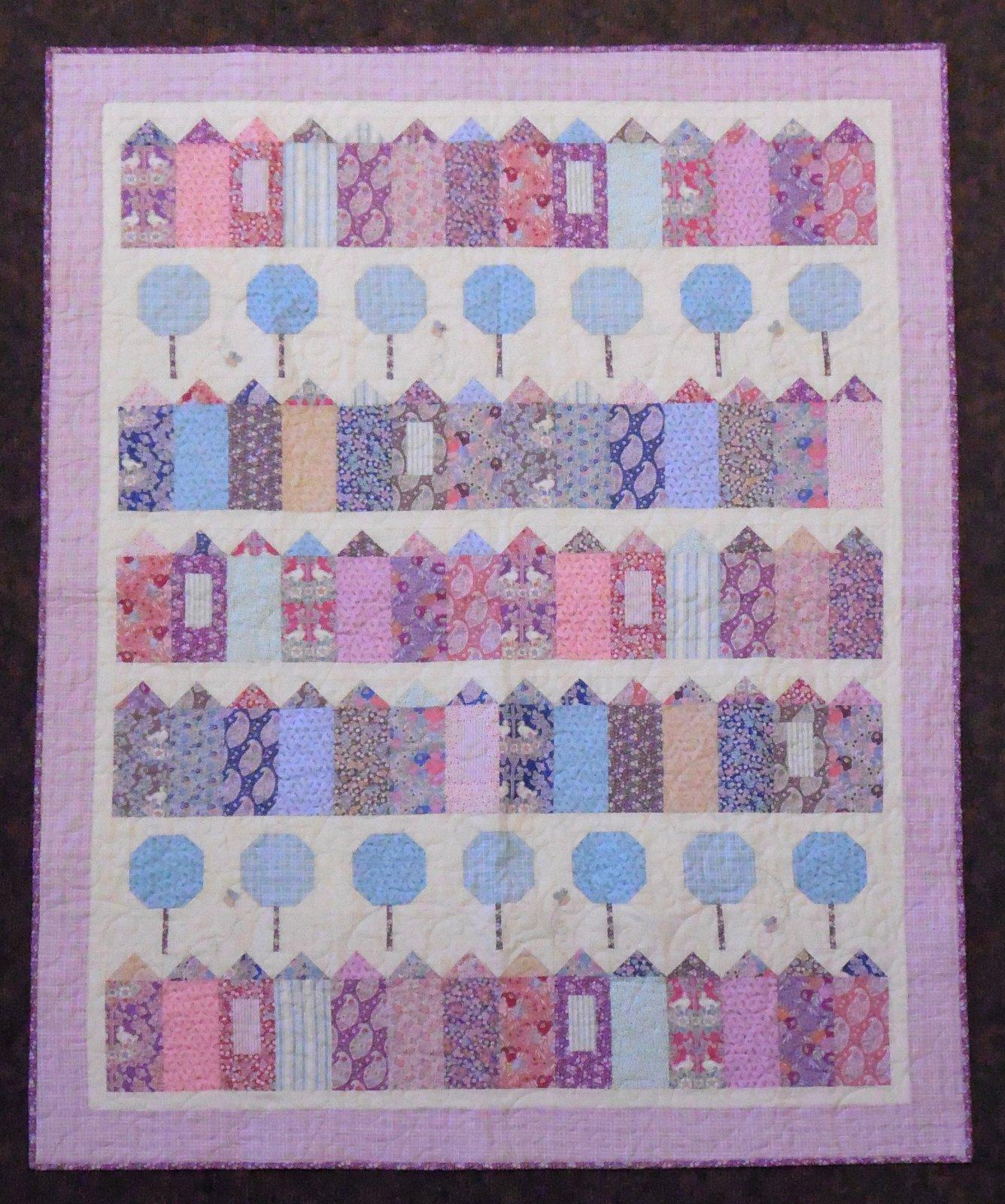 Plum Garden Village Quilt Kit - 50 x 62 1/2