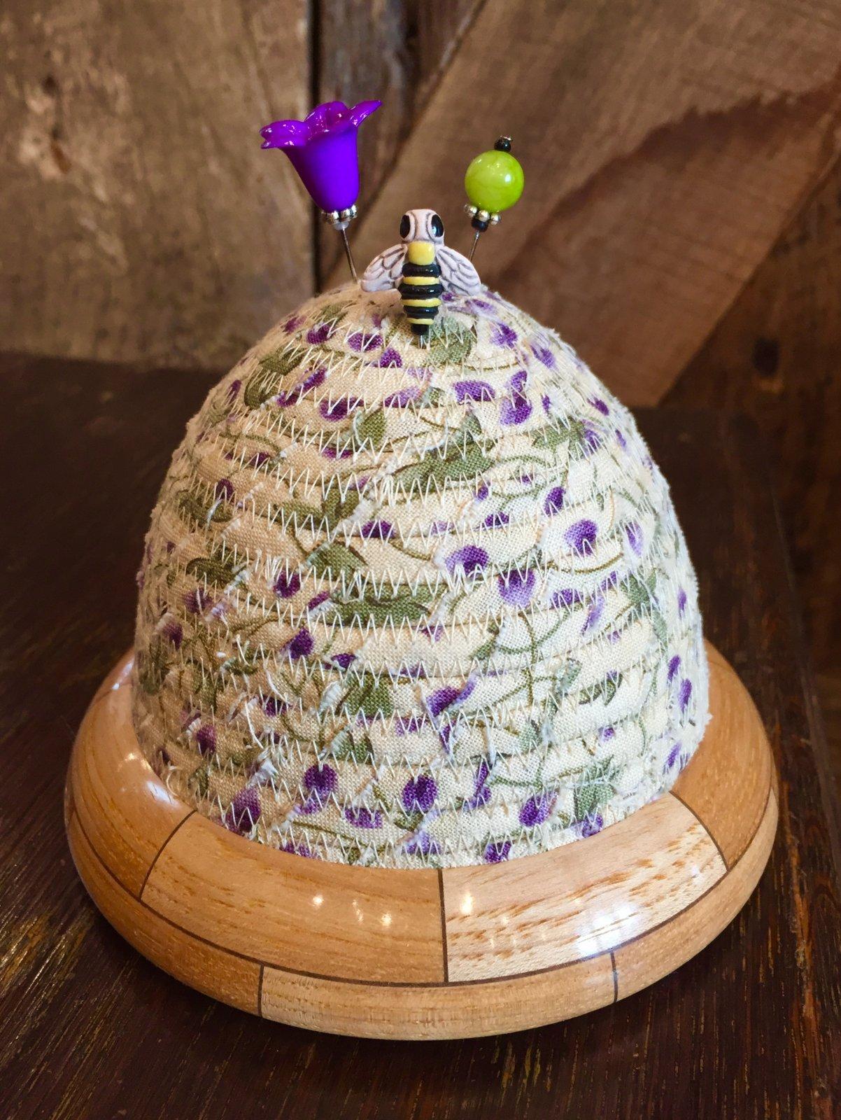 Beehive Pincushion - Purple Floral Top - Hickory / Walnut Base