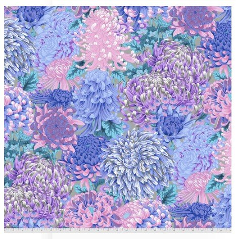 Pre-Order - Kaffe Fassett Collective - Hokusai's Mums - Grey
