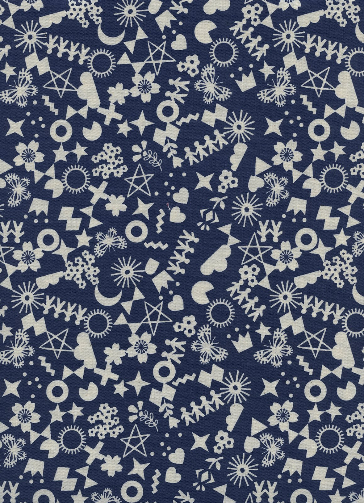 Paper Cuts - Cut It Out - Navy Unbleached Cotton