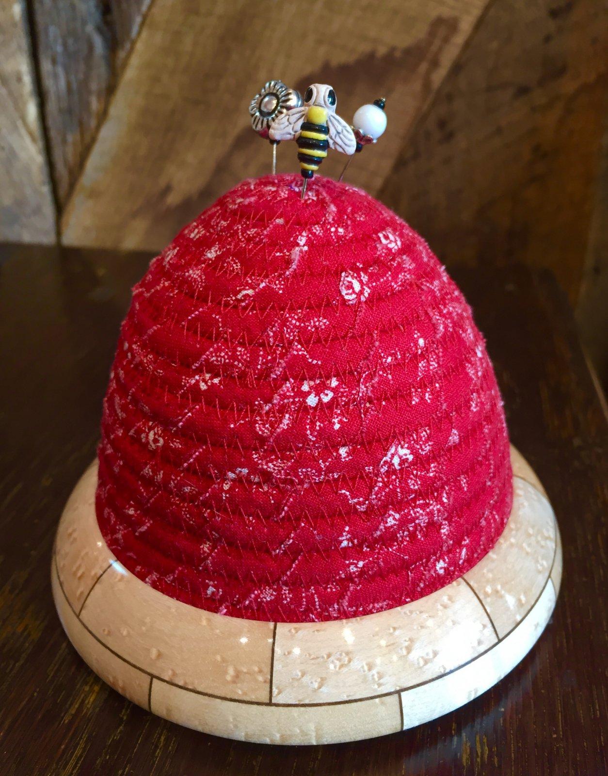 Beehive Pincushion - Red Top - Birdseye Maple / Walnut Base