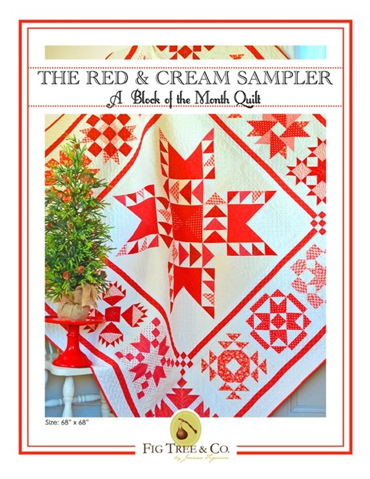 Classic Red & Cream Sampler Pattern - by Fig Tree