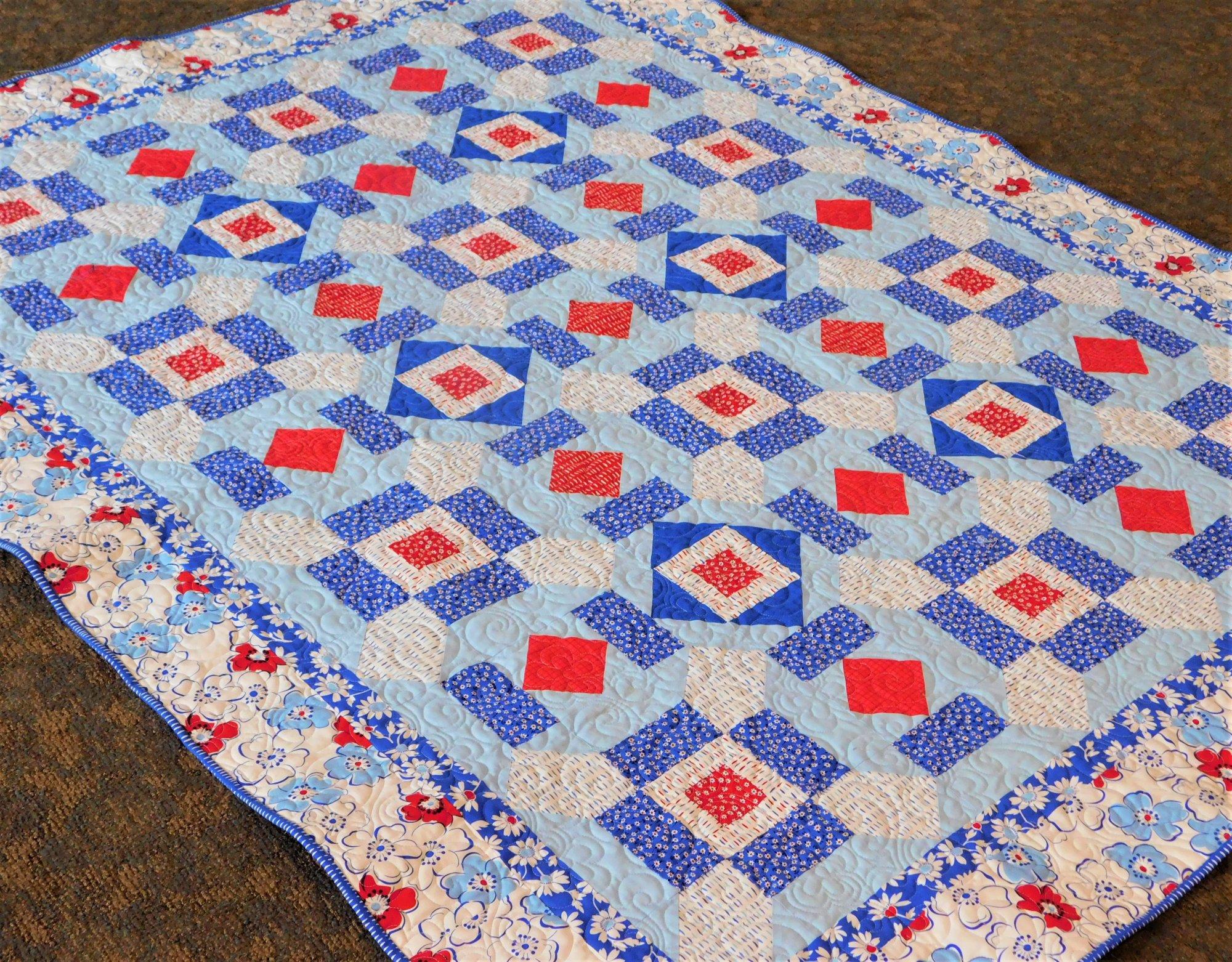 Red Diamonds Quilt Kit - 56 1/2 X 72 1/2