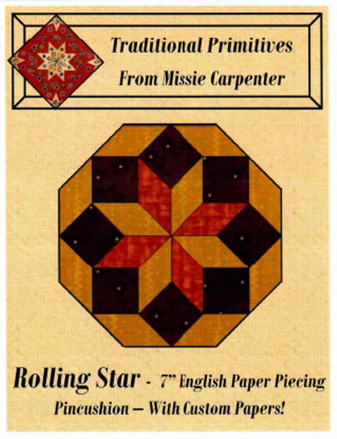 Rolling Star - 7 EPP Pincushion - Traditional Primitives