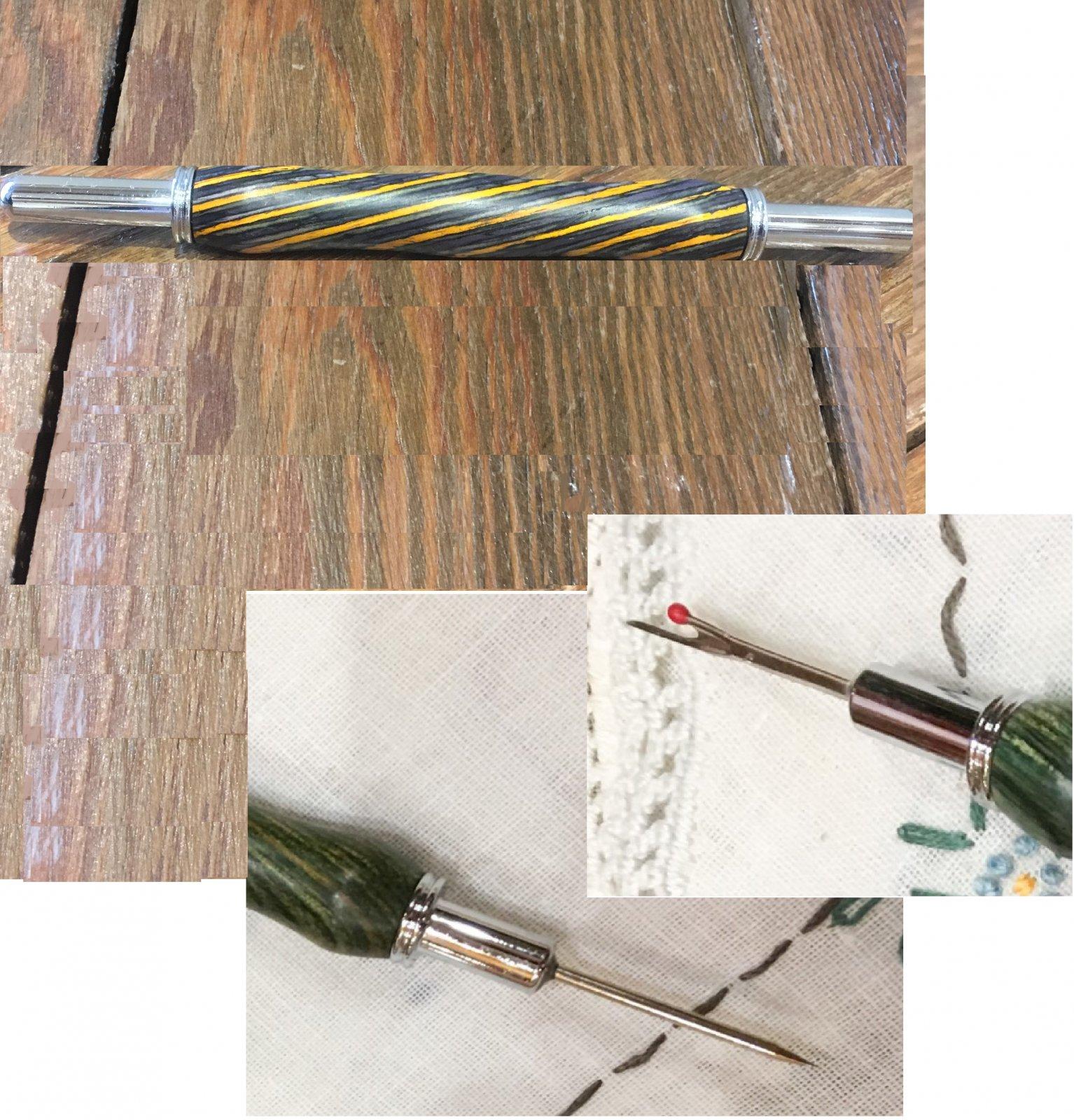 Wood Stiletto & Seam Ripper Combo Tool - Grey & Yellow