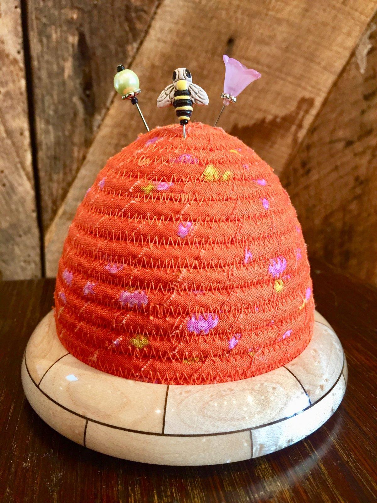 Beehive Pincushion - Sun Print - Day Dream Blaze - Birdseye Maple / Walnut Wooden Base