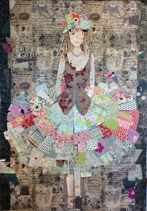 the dress fiberworks collage quilt kit fabric only