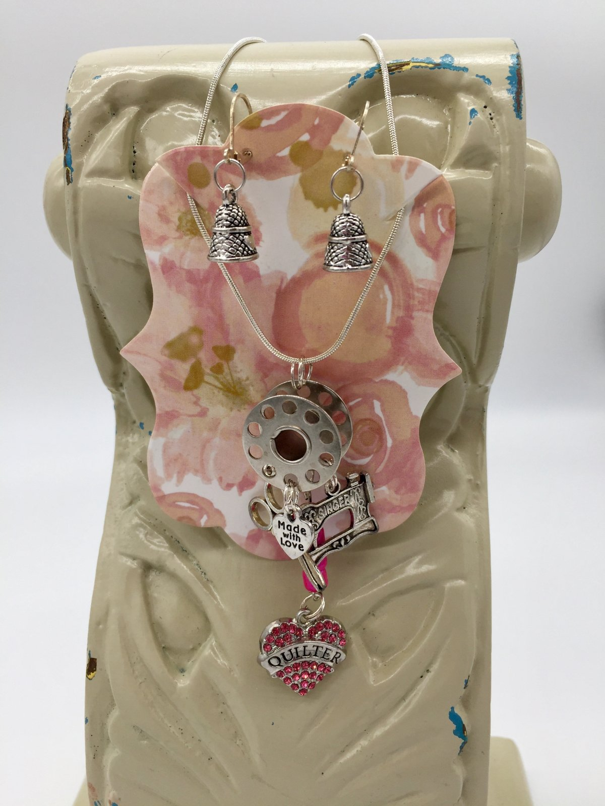 Quilter Necklace & Earrings Set - Thimble Earrings - Pink Charm
