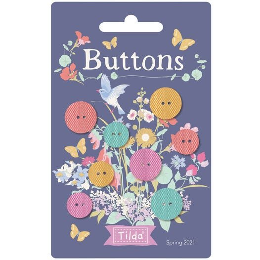 Tilda Gardenlife Chambray Buttons 12 and 15 mm 8 pc