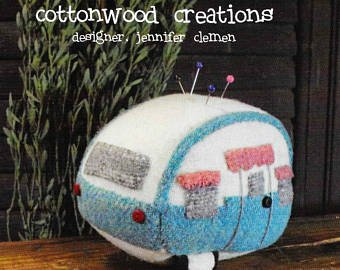 Vintage Camper Pin Keep Kit - 4 High - Wool Pin Cushion