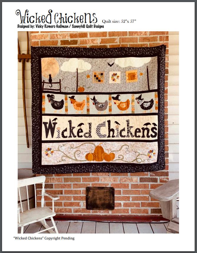 Wicked Chickens Quilt Pattern - 52 x 57
