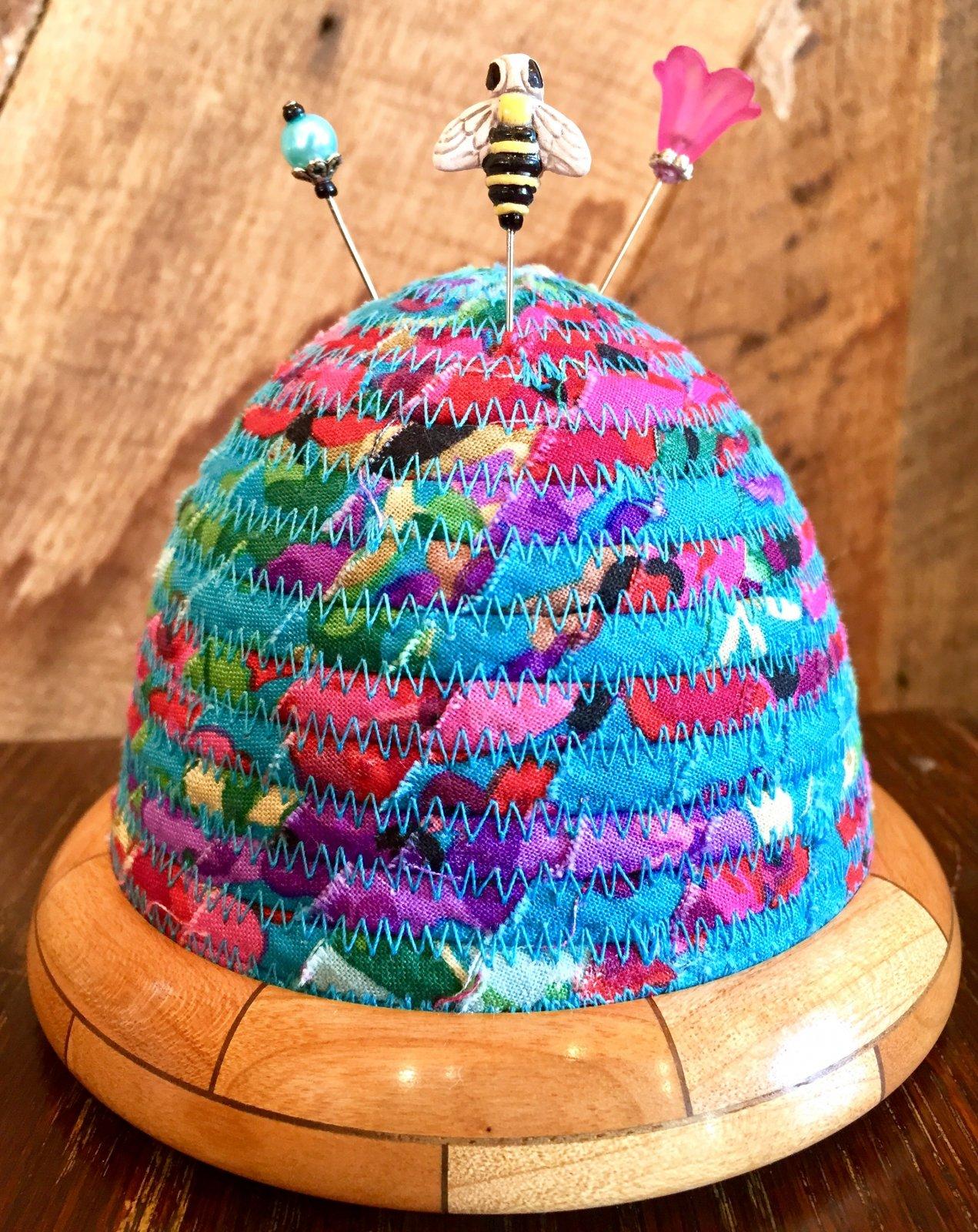 Beehive Pincushion - Teal Top - Cherry/Walnut Base