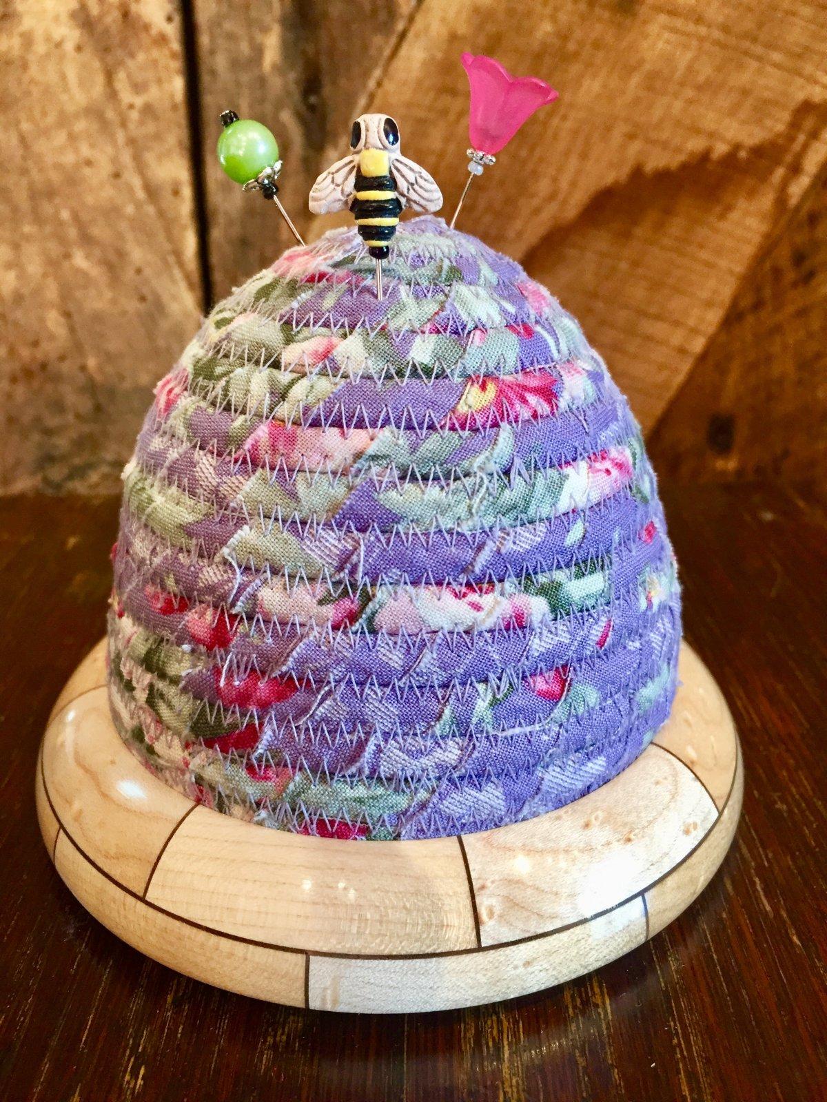 Beehive Pincushion - Woodland by Tilda - Hazel Roses - Lavender - Birdseye Maple / Walnut Wooden Base