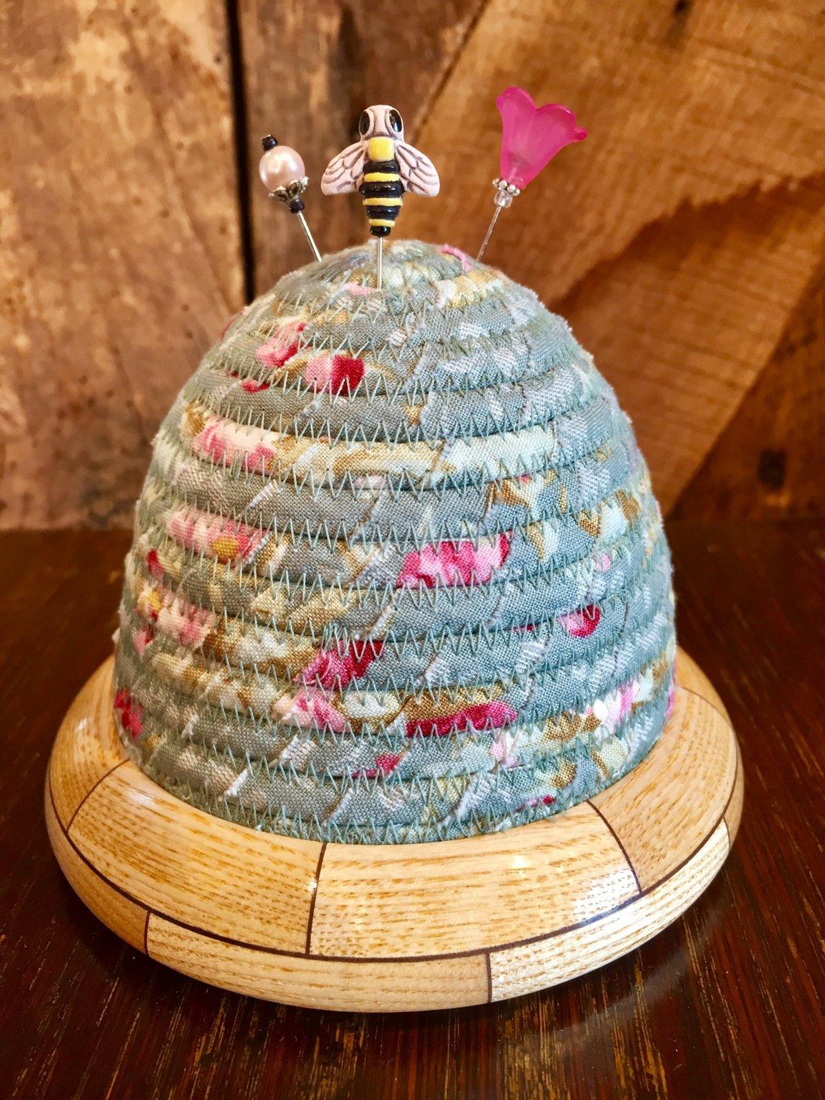 Beehive Pincushion - Woodland by Tilda - Hazel Roses - Sage Top - Ash / Walnut Base