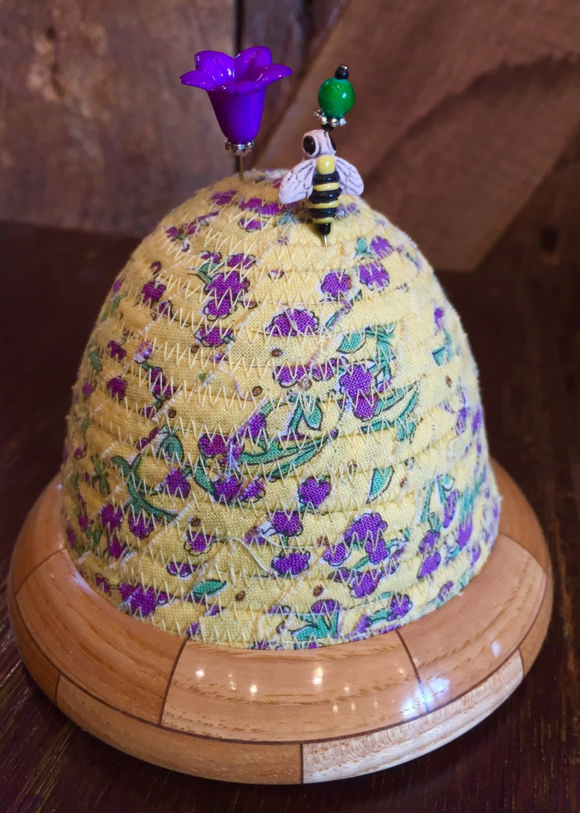 Beehive Pincushion - Yellow Floral Top - Hickory / Walnut Base