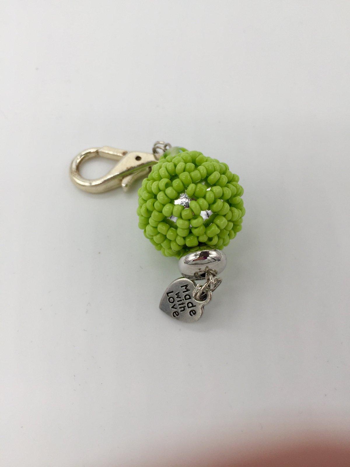 Zipper Pull - Green Beads