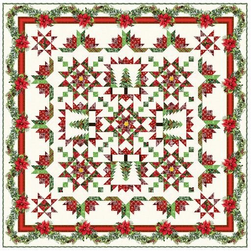 A Poinsettia Winter Quilt (Pattern Sold Separately)