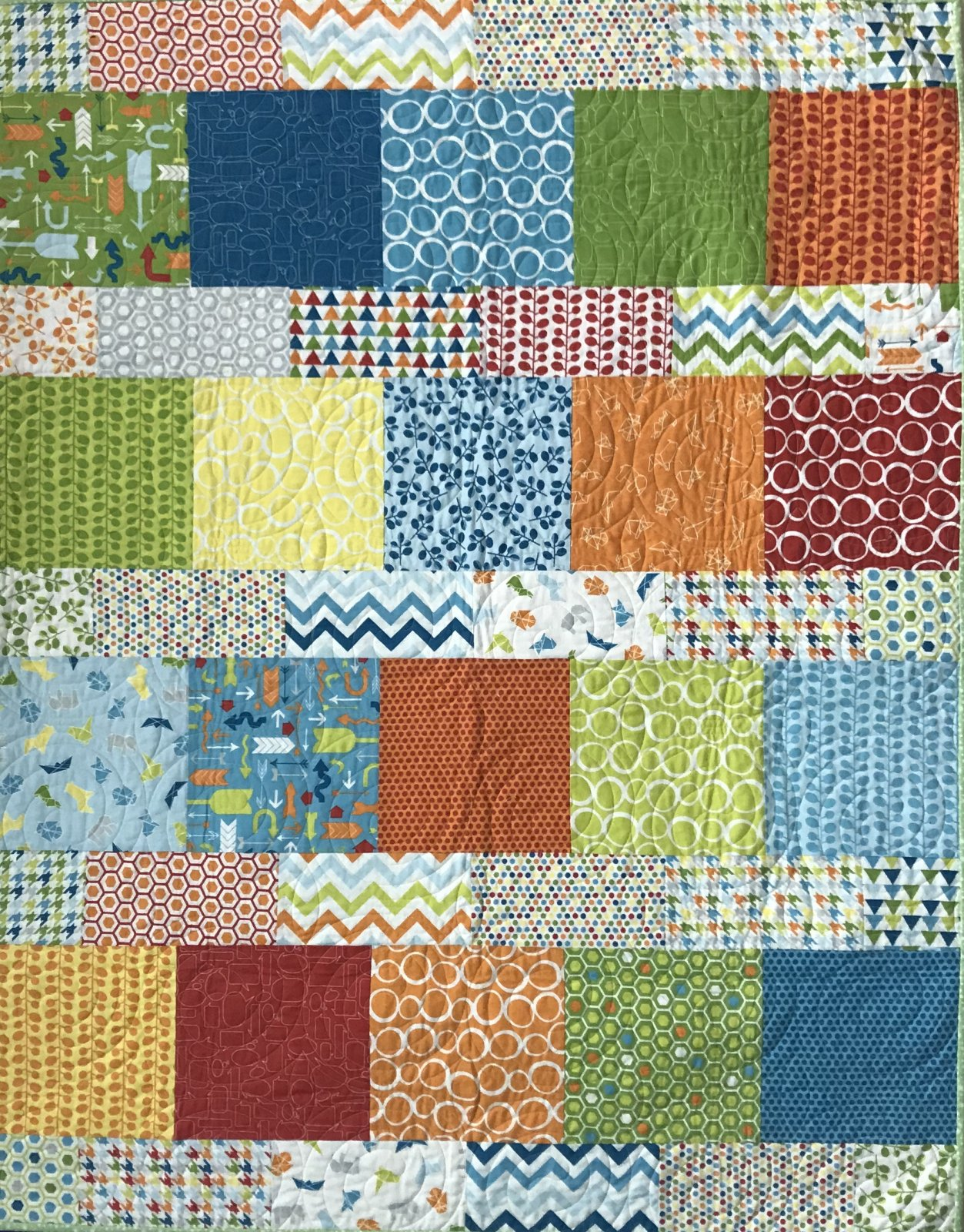 Mixed Bag Layer Cake Lemonade Flannel Quilt 48 x 60
